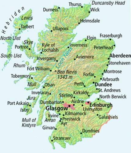 Schottland Karte Highlands.Schottland Karte Städte Hanzeontwerpfabriek